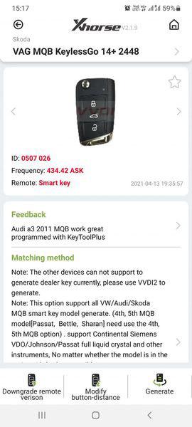 Xhorse Key Tool Plus Skoda Octavia 2015 AKL 1