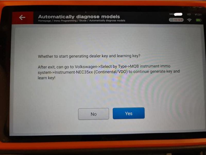 Xhorse Key Tool Plus Skoda Octavia 2015 AKL 7