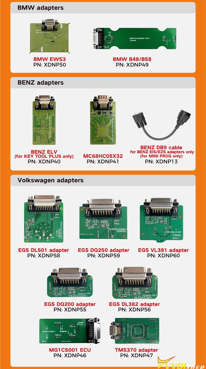 Xhorse Solder Free Adapters And Cables (2)